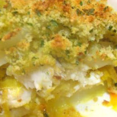 Layered Fish and Potato Pie With Saffron Leeks