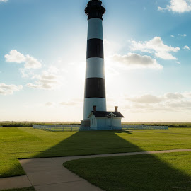 Shadow of the Light by Michael Kight - Landscapes Beaches ( bodie island, outer banks, lighhouse, bodie island lighthouse, north carolina )