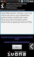 Screenshot of IVONA Carmen Romanian beta