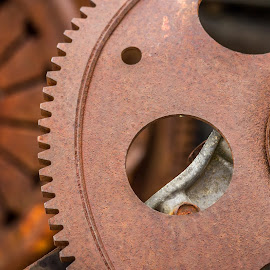 Wheel of Misfortune by Voicu Lupan - Abstract Macro ( wreckers, auto, old cars, iron )
