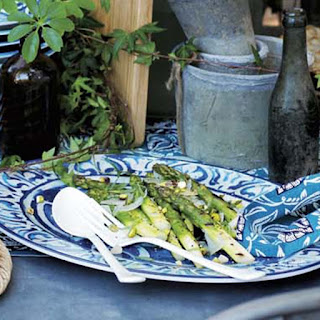 Grilled Asparagus with Pecorino and Pistachios