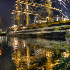 Tall Ships at the harbour by Guido Bandiani - Transportation Boats (  )