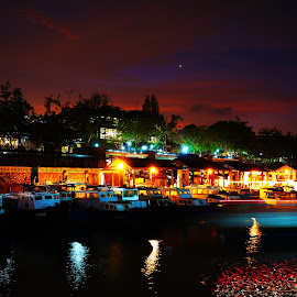 Changi Ferry Terminal at Night by Alan Chew - Transportation Boats