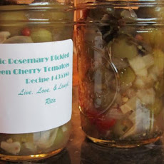 Garlic Rosemary Pickled Green Cherry Tomatoes