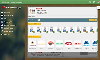 Screenshot of NutriSavings