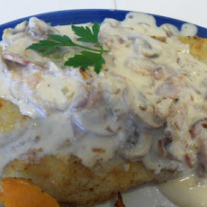 Pan-Fried Fish With Bacon-Mushroom Sauce
