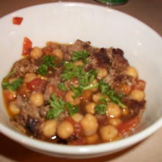 Moroccan Spiced Lamb Sausage Patties with Chickpeas in Tomato Broth