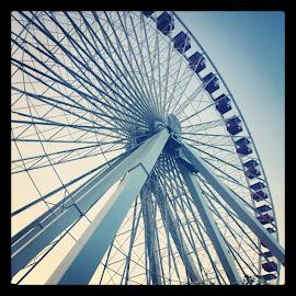 Dusk Thrills by Tara Davis - Instagram & Mobile Android ( chicago skyline, sunset, chicago, dusk, ferris wheel, Urban, City, Lifestyle )