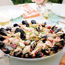 Grilled Seafood and Chorizo Paella with Allioli