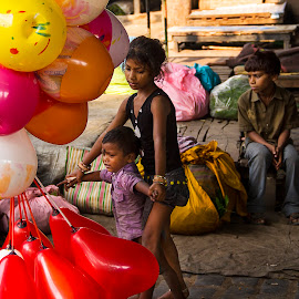 Street Children by Roopam Ahmed - City,  Street & Park  Street Scenes ( children, balloons, emotion, street photography )