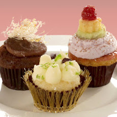 Crystallized Ginger Olive Oil Cupcakes with Lime Buttercream, Opal Basil, Mint, and Lime Zest