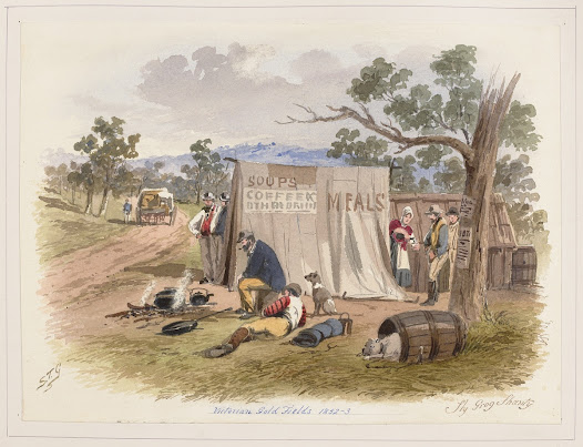 Sly grog shanty  The consumption of alcohol triggered a number of petitions during Melbourne's early development.  In this S.T. Gill water colour diggers lie and stand around in front of a tent at the side of a road. Illegal alcohol could be purchased under the respectable guise of a meals and soup tent.