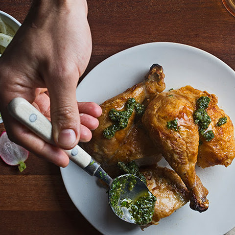 Whole-Roasted Chicken with Salsa Verde and Fennel-Orange Salad