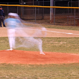 The Pitch by Tony Moore - Sports & Fitness Baseball ( shutter drag, baseball, time exposure, movement, blur, special effects )