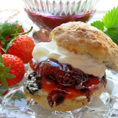 English Scones With Mixed Summer Berries and Cream