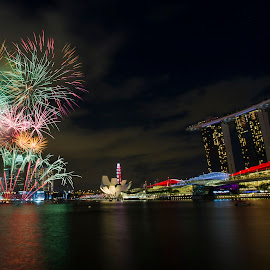 Singapore NDP Grand Finale Fireworks by Benny Ng - City,  Street & Park  Skylines