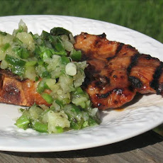 Hoisin Pork Chops With Pineapple Green Onion Relish