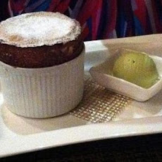 Warm Chocolate Souffles with Pistachio Ice Cream