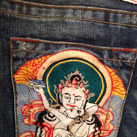 Embroidered Pocket by John Porter - Artistic Objects Clothing & Accessories ( budha, pocket, back pocket, true religion, blue jeans, embroidered pocket, bobby, buddha, embroidery, artistic, object )