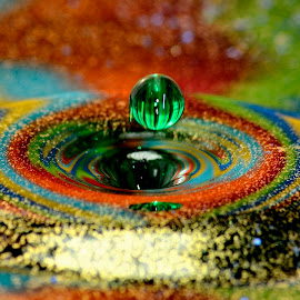 Green drop by Marcos Sanchez - Abstract Water Drops & Splashes