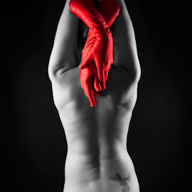 Body by Kristina Oberling - Nudes & Boudoir Artistic Nude ( body, red, nude, black and white, naked, woman, art, phoenix, portrait, selective color, pwc )