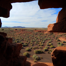 Room with a View by April Barci - Landscapes Deserts ( sky, desert, ancient, window, flagstaff, arizona, ruins, wupatki ruins )