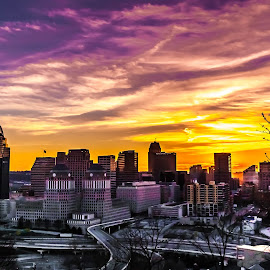 Here Come the Pinks by Pat Lasley - City,  Street & Park  Skylines ( skyline, sunset, cincinnati, dusk, golden hour,  )