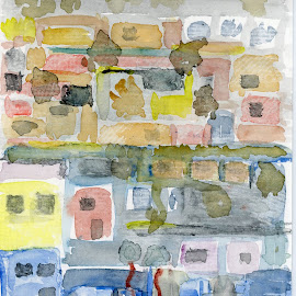Suburb by Bernhard Bußmann - Painting All Painting ( watercolour, painting )