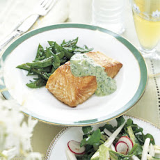 Roasted Salmon with Cucumber Sour Cream