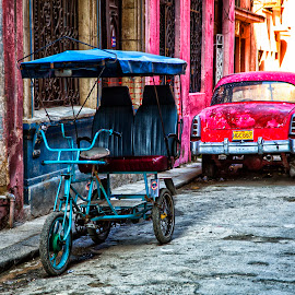Havana Transportation - Working and Not by Terry Scussel - City,  Street & Park  Street Scenes ( bici taxi, havana bici taxi, cuba transportation )