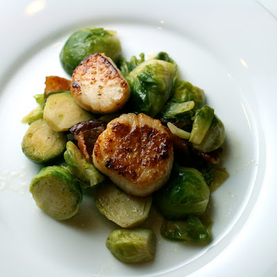 Seared Scallops with Brussels Sprouts and Bacon