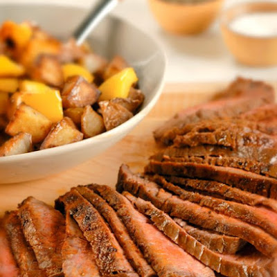London Broil with Crispy Potatoes and Peppers