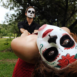 Dance of the living dead by Mark Marante - People Body Art/Tattoos ( art, face paint, sugar skull, couple, dance, people )