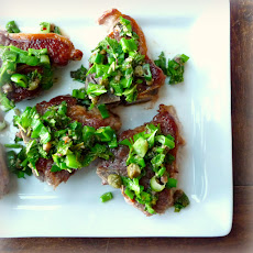 Lamb Loin Chops with Lemon Mint Salsa Verde and Flageolets