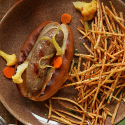 Grilled Bratwurst with Shoestring Gremolata Fries