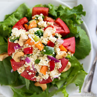Colorful Tofu Salad with Basil and Cashews
