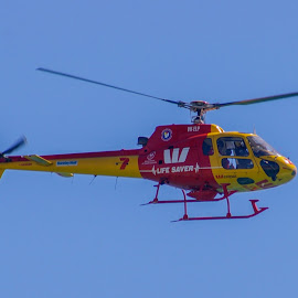 Rescue Helicopter by Sean Heatley - Transportation Helicopters ( helicopter, flying, south australia, sky, red, transport, blue, rescue, adelaide, yellow )