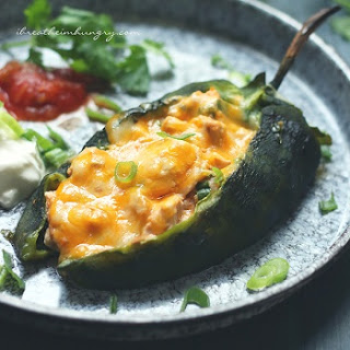 Cheesy Chicken Stuffed Poblanos – Low Carb and Gluten Free