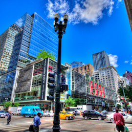 Chicago Shopping District by Sean Price - City,  Street & Park  Street Scenes ( hdr, skyscraper, wide angle, perspective, shopping, chicago, district )
