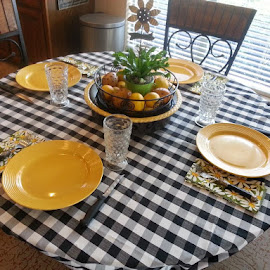 Having company for dinner tonight.  I set the table with black and yellow accents. by Sherri Murphy - Artistic Objects Furniture ( dinner, dishes, table, yellow, black )