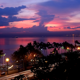 Baywalk Sunset by Joey Tomas - City,  Street & Park  Skylines ( clouds, sunsets, streetscape )