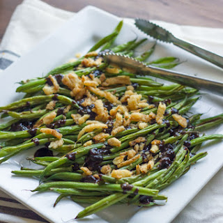 Roasted Green Beans with Creamy Cranberry Balsamic