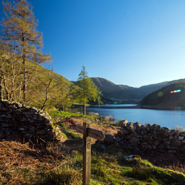 Haweswater .. decision time by Mark Helm - Landscapes Travel ( cumbria, hdr, views, haweswater, lakes, nikon d7100, signpost )