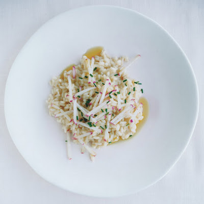 Romano Risotto with Radishes