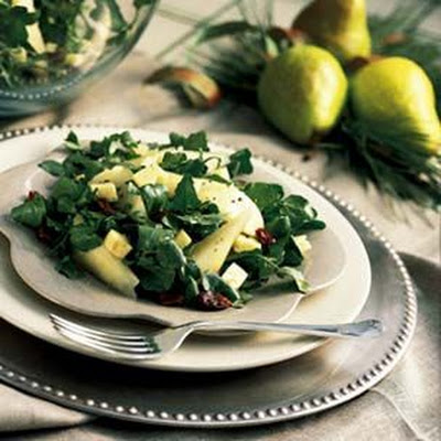 Watercress, Pear and Goat Cheese Salad with Sherry Vinaigrette
