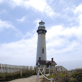 Pigeon Point Lighthouse by Holly Lent - Buildings & Architecture Public & Historical ( fence, stairs, northern california, california, lighthouse )