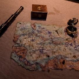Treasure Map by Andy Grzess - Novices Only Objects & Still Life ( looking glass, treasure map, map, compass, pirate )