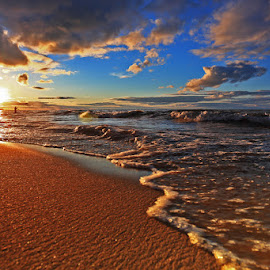 Sunset Beach by Mike Grosso - Landscapes Sunsets & Sunrises ( beaches, huron lake, sunsets, michigan outdoors, landscapes, port austin 9-13-14, Earth, Light, Landscapes, Views )