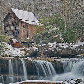 Glade Creek Mill by Bud Schrader - Buildings & Architecture Public & Historical ( mill, winter scene, w.va, glade creek, babcock st pk )