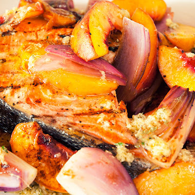 Ginger Salmon With Peaches